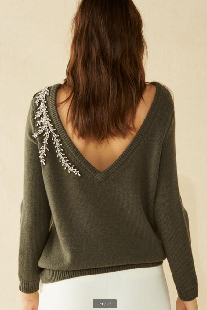 2019 Luxury Diamond Beading Cashmere Woolen Sweater Female Deep V-neck Crystals Beading Knitwear Sweaters Pullover Tops Wq887