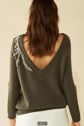 2020 suéter de lana de Cachemira con cuentas de diamantes de lujo para mujer cuello en V profundo cristales rebordear suéteres de punto suéter tops wq887