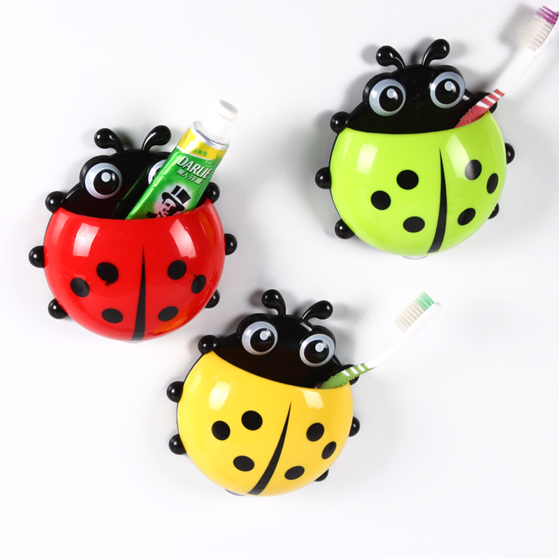 Creative Home Accessories Cartoon Lady Beetle Toothbrush Holder Cute Suction Hook Tooth Brush Cup Tool Bathroom Accessories