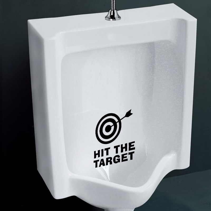 Novelty Home Decor  Hit the target  Funny Toilet Sticker Decals Fashion 3D Wall Tile Stickers Home Decoration 11 x 12 CM