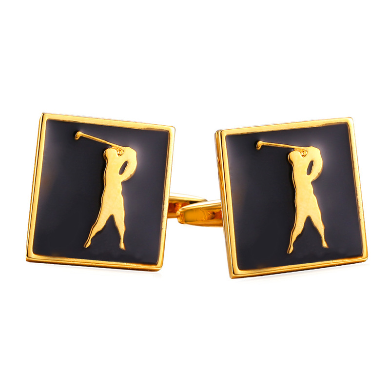 Mens Cuff Link Act of Golf Shape yellow Gold/Silver With Enamel Cufflinks For Mens Gift Cufflinks High Quality Men Jewelry C347