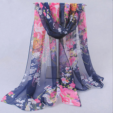 Spring 2015 New Nice Scarves & Wraps Vntage Blue Chiffon Silk a Scarf flowers Fashion Cotton For Woman Free Shipping XQ041