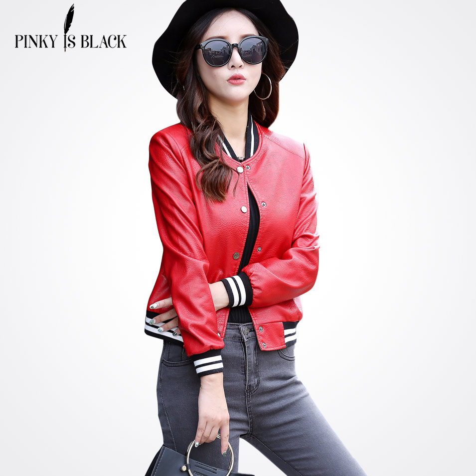 Pinky Is Black 2017 New Autumn Fashion Street Women Short Baseball Leather Jacket Red Color Lady Basic Jacket Coat Good Quality