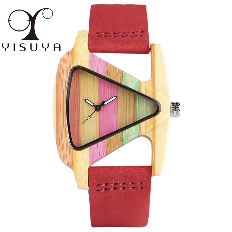 YISUYA Unique Triangle Hollow Wood Watch Kreativ Färgrik Stripe - Damklockor