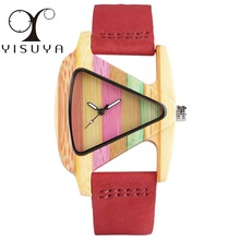 YISUYA Unique Triangle Hollow Wood Watch Creative spalvinga juostele Bambuko laikrodis Women's Hour Mada odos Lady Wristwatch 2017