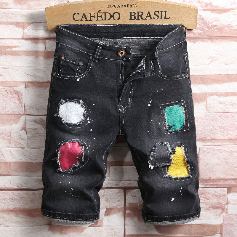 Summer denim jeans shorts men straight hole slim fashion hip hop print colored dietresse ...