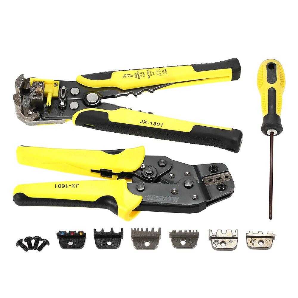 Meterk 4 Em 1 ferramentas multi Alicates Wire Stripper Crimper Catraca Do Terminal Ferramenta De compressão de Fio + Fio de Engenharia + S2 chave de fenda