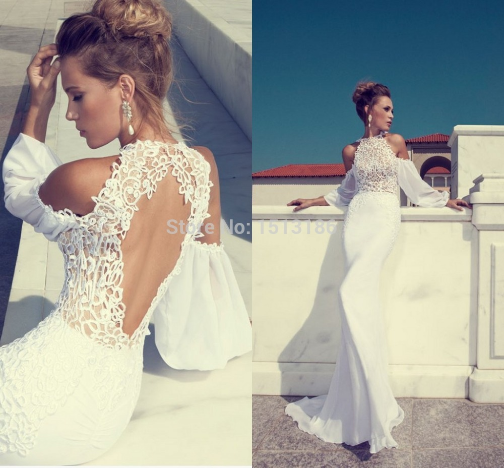 2016 new stylish high neck long sleeves lace off shoulder for Wedding dresses with high neck and long sleeves