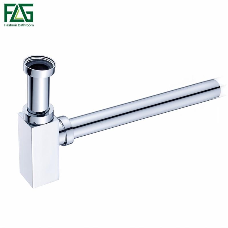 FLG Brass Bottle Trap Bathroom Sink Vanity Basin Pipe Waste Drain Pipe Siphon Drainer P Trap