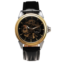 T WINNER Dress Men's Auto Mechanical Wrist Watch Golden Bezel Skeleton Dial Leather Strap Luminous Hands New Design + GIFT BOX