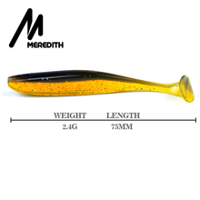 Meredith 75mm 2.4g 20pcs Wobblers Fishing Lures Easy Shiner Swimbaits Silicone Soft Bait Double Color Carp Artificial Soft Lure