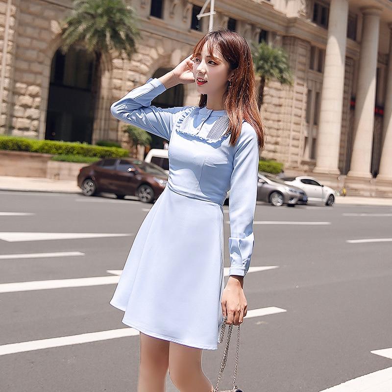 EAD Elegant Ruffle Slim Women Vintage Dress Party Solid Long Sleeve Spring Blue Dresses Office Lady Summer Button Female Vestido