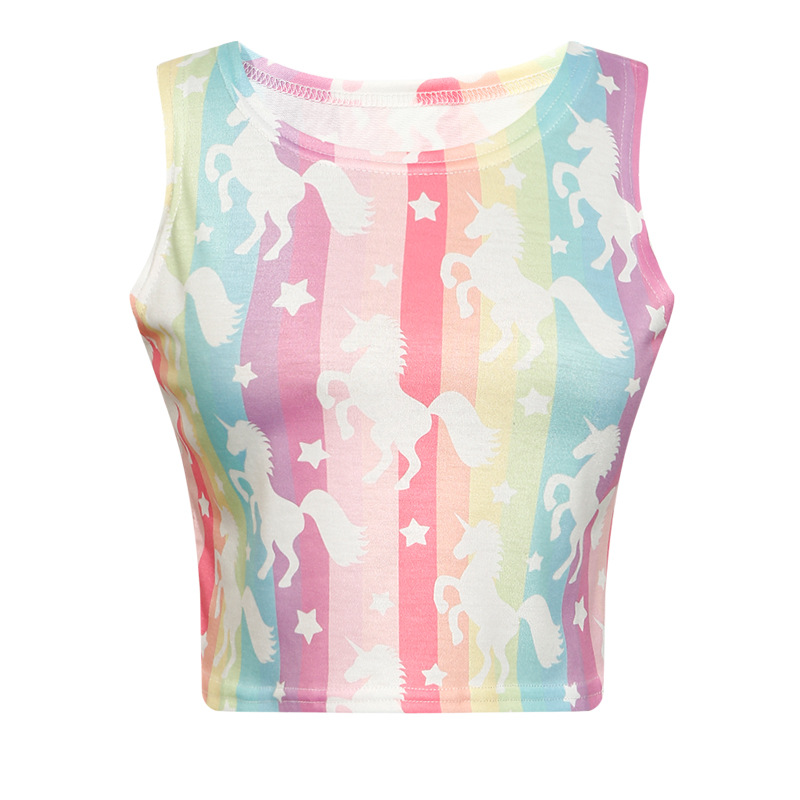 2018 spring new small vest female digital rainbow covered body ultra short stretch vest T4255