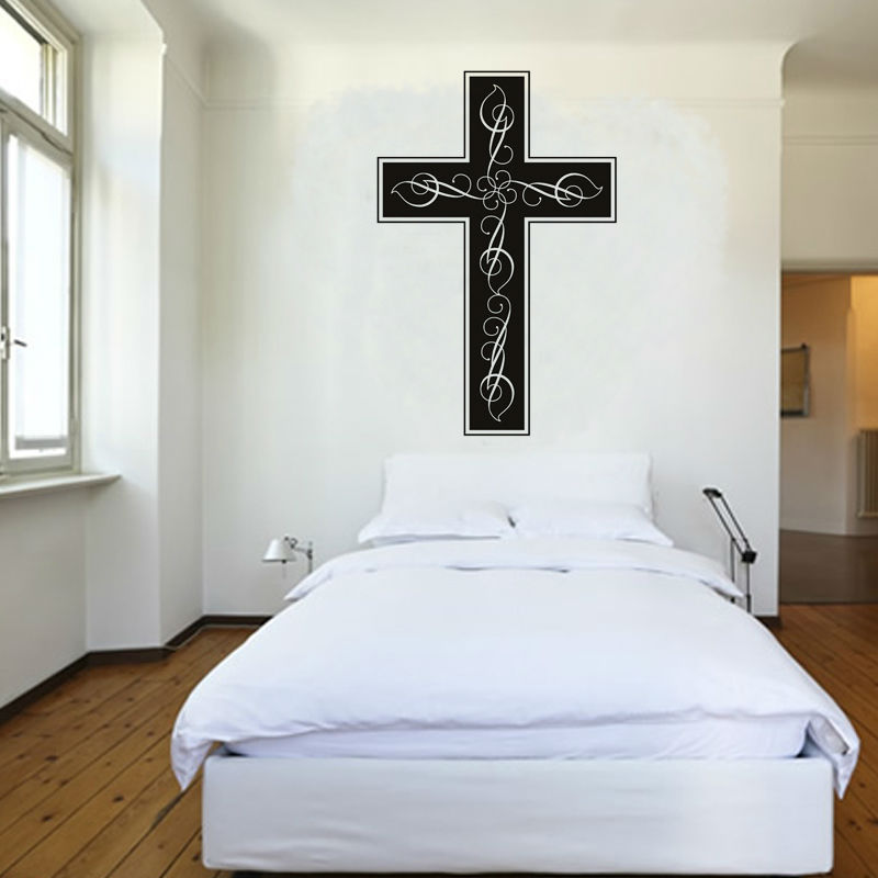 Religious Cross Bedroom Decorative Wall Sticker Quotes Plane Printed Removable Home Decor Vinyl Wall Art Decals