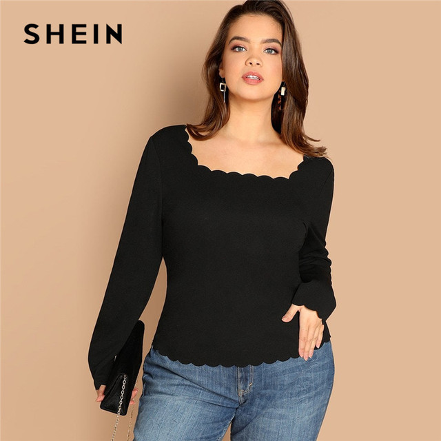 SHEIN Plus Size Long Sleeve Scallop Trim Square Collar Women Black Slim Fit Top Tees Casual Solid T Shirt