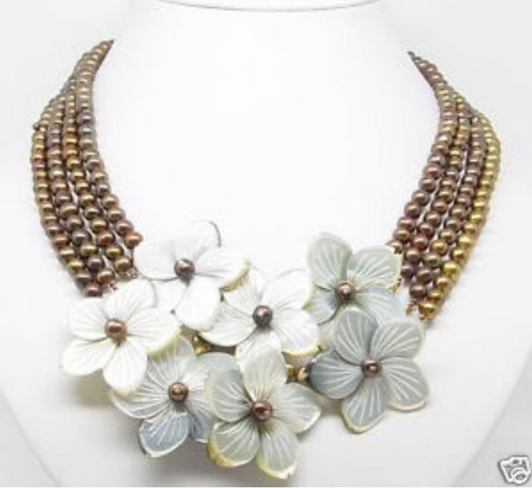4 Rows 6-7mm Chocolate pearl MOP flower Shell necklace>Selling jewerly free shipping