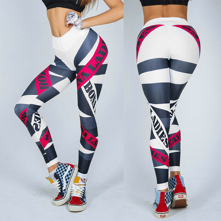 Women High Waist Printed Pants Slim Skinny Gym Running Fitness Leggings Pants Workout Clothes Sweatpants 2019 Bottoms Plus Size