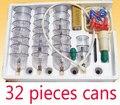 Item 32 latas de Vácuo massagem cupping cupping set thicker aspiração magnética massagem acupuntura ventosa com tubo de presente