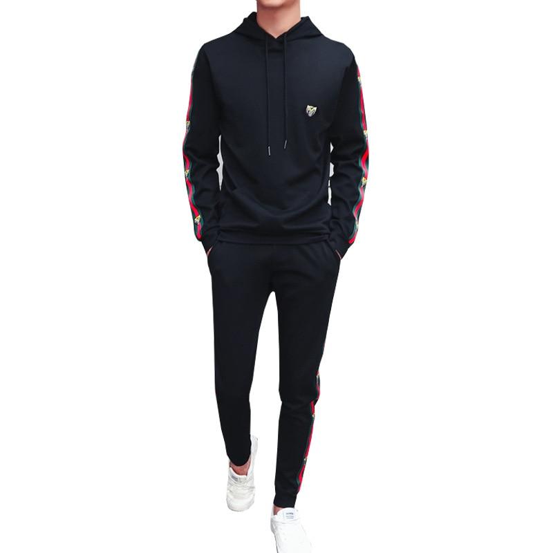 2018 Autumn Mens Track Suit 2 Piece Set Sweatshirt And Joggers Pants Sportsuits Cotton Pullover Hoodies Trouser plus size M-5XL