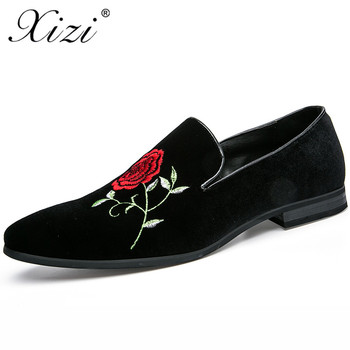 XIZI 2018  Handmade Black Rhinestore Men's Suede Loafers Wedding Party Men Shoes Luxury Brand Noble Elegant Dress Shoes for Men