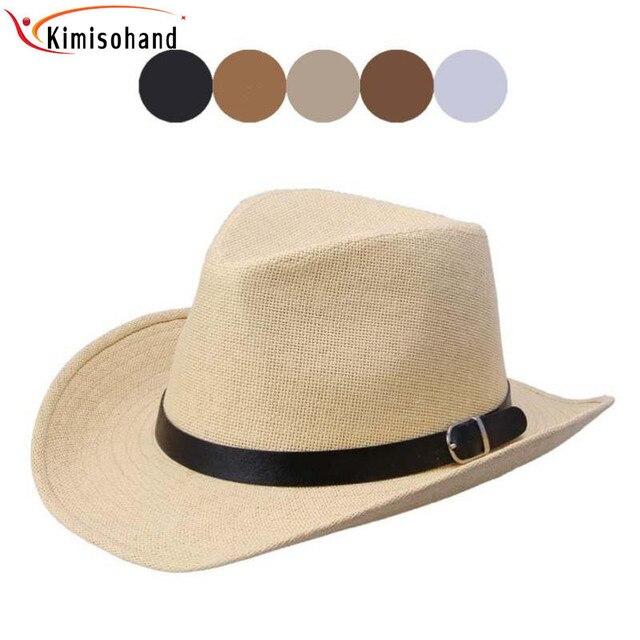 Kimisohand Baru Hot Mode 6 Warna Musim Panas Pria Topi Koboi Topi Jerami  pria Mode Hot e047d0327c
