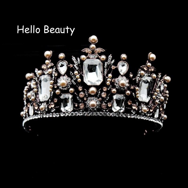 Huge Vintage Clear Crystal Baroque Crowns Rhinestone Bridal Queen Tiara Bridesmaid Bride Hair Jewelry For Wedding PartyHuge Vintage Clear Crystal Baroque Crowns Rhinestone Bridal Queen Tiara Bridesmaid Bride Hair Jewelry For Wedding Party