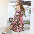 7299# autumn new women's leisure all-match loose thin zipper in long sleeved camouflage coat