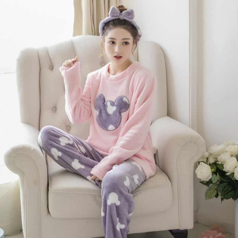 Home Suit Autumn Winter Women Pyjamas Sets Pijama Thick Warm Coral Flannel nightgown Female Cartoon Animal Cute top + long pants