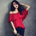Hombro ladies tops 2016 verano estilo Coreano de moda plisada gasa de la colmena de la blusa