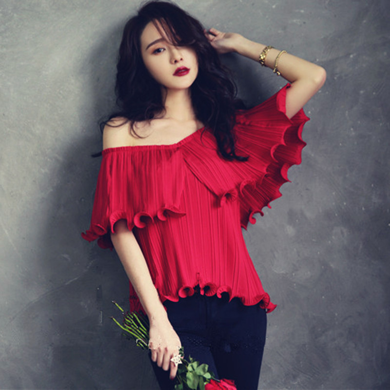 Off Shoulder Ladies Tops 2016 Summer Style Korean Fashion Pleated Chiffon Ruffle Blouse-in ...
