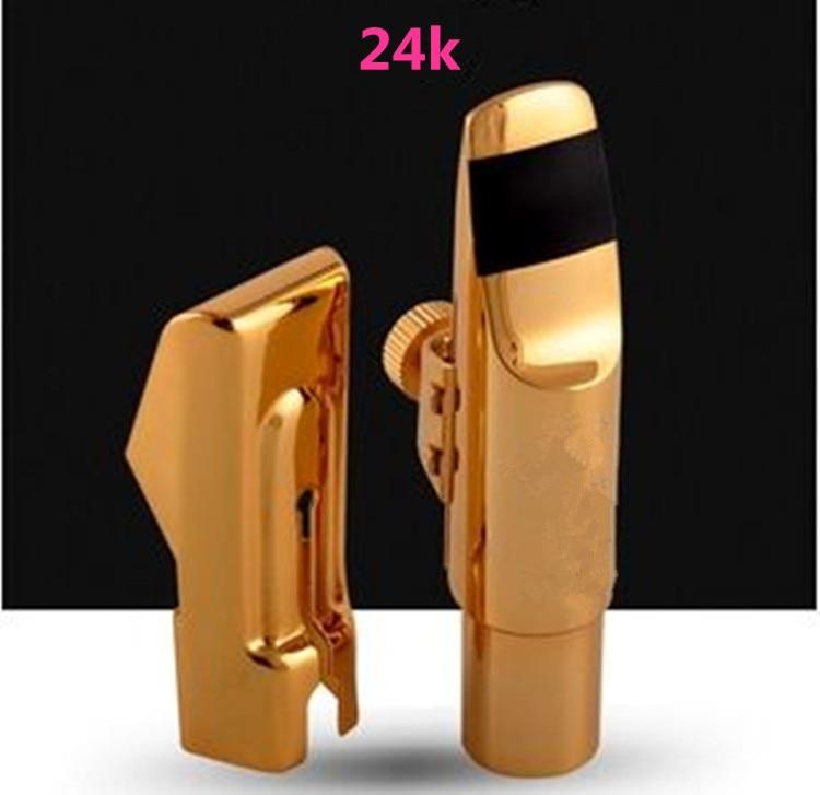 Nueva boquilla de Metal bañada en oro 24 K saxofón alto saxofón/saxofón tenor/Saxofón Soprano 5-9 Número de envío profesional