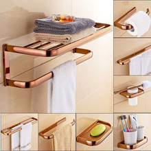 Rose Gold Brass Finish Bathroom Accessories Set,Paper Holder,Towel Bar,Soap Basket,Toilet Brush Holder,Bathroom Sets zba865 free shipping solid brass bathroom accessories set robe hook paper holder towel bar soap basket bathroom sets yt 12200 a