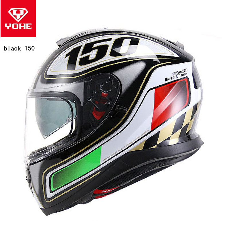 2018 Knight equipment YOHE double visor Full Face Motorcycle Helmet YH976 moto racing helmets made of ABS PC visor