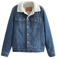 Women Denim Jacket Winter Parka Regular Length Faux Fur Lined Denim Jacket Winter Coat Outwear