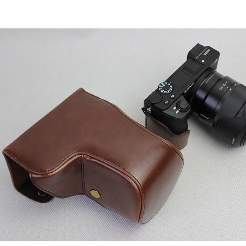 Marrón PU Cuero Bolso Bolsa de transporte para la cámara Sony a6500