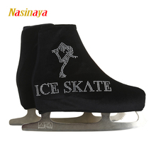24 Colors Child Adult Velvet Ice Figure Skating Shoes Cover Roller Skate Fabric Cover Accessories Black Ice Skate Rhinestone