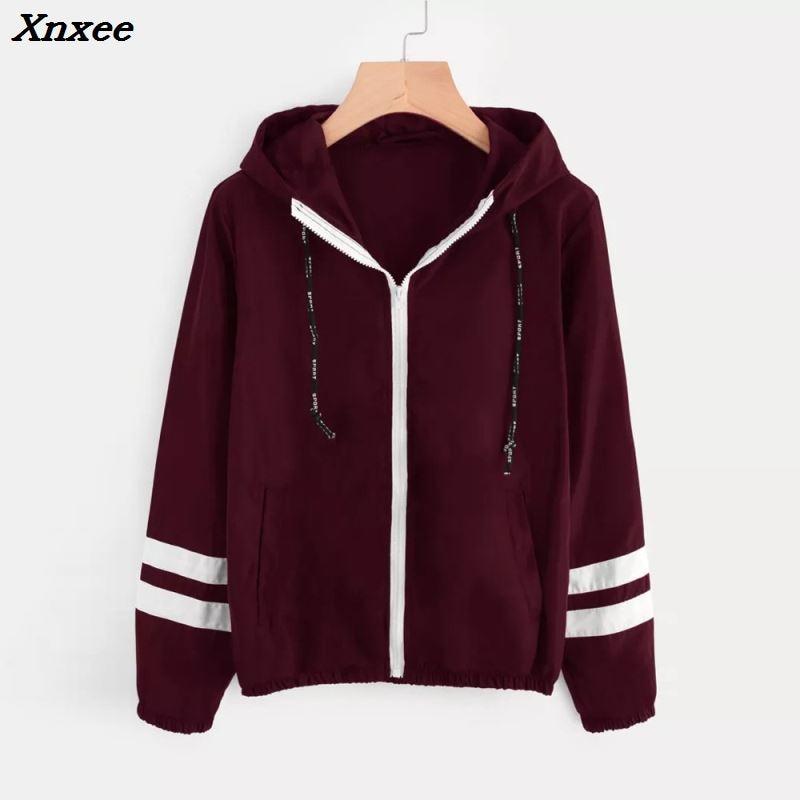 Xnxee Tone   basic     jacket   women hooded Long sleeves zipper pockets women winter coat Casual autumn Windbreaker   jacket   coat 2018
