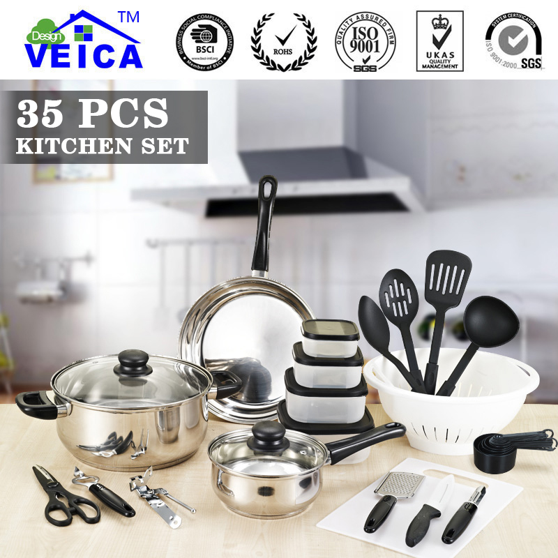 2018 Hot sale Stainless Steel Cooking Tool Sets Cookware Set 35 Piece Pots Pans Kitchen Home