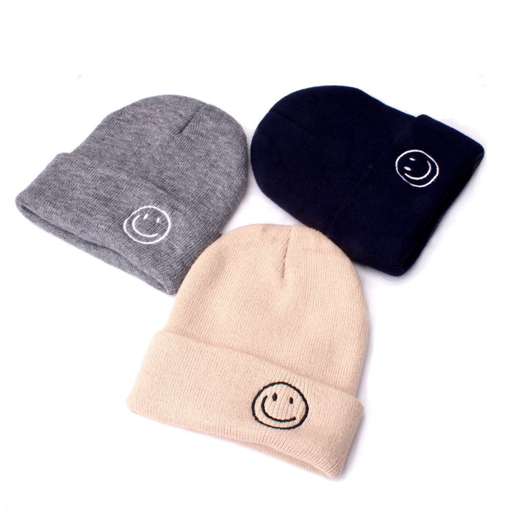 Beanie Hat Smile Knit Baby Pompom-Winter New Gorro Invierno Chapeau Cap Homme Keep-Warm