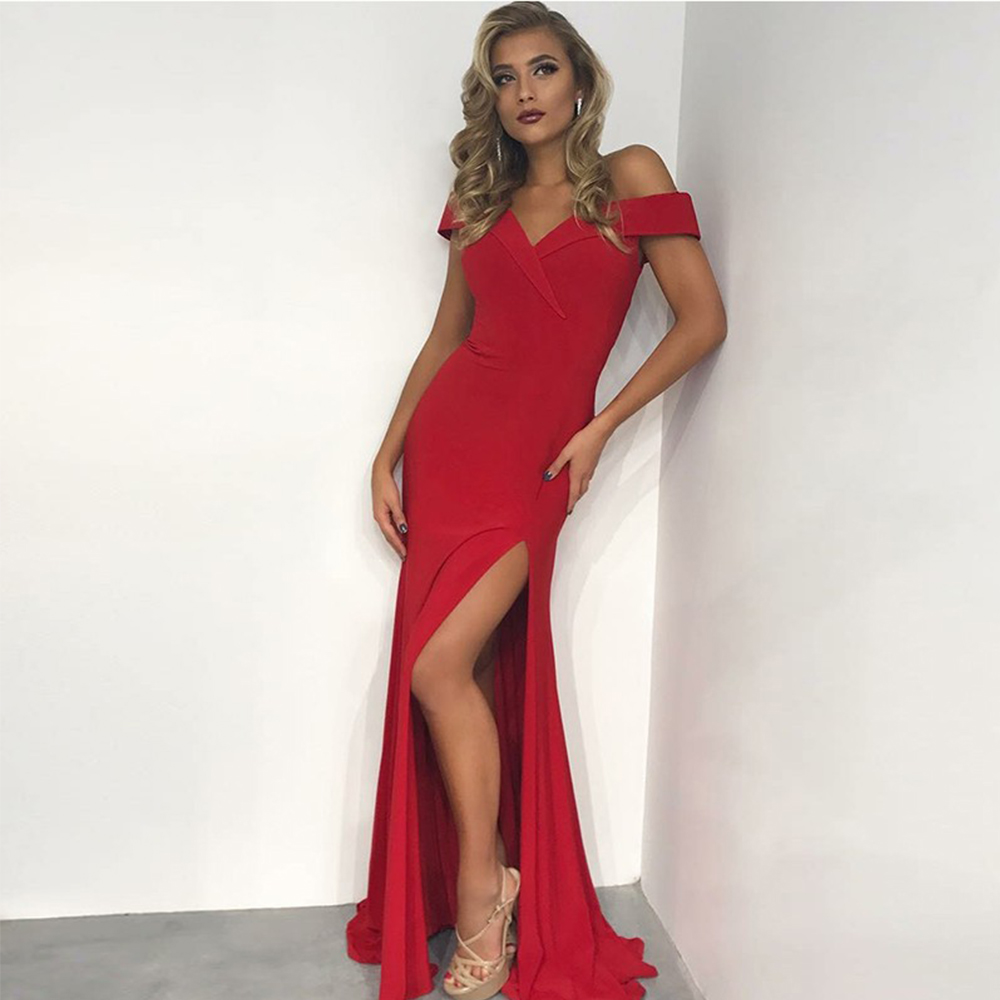 Bbonlinedress Hot Sale Mermaid   Prom     Dress   New Off-the-Shoulder Evening   Dresses   2019 Floor-Length Red Evening Gowns with Split