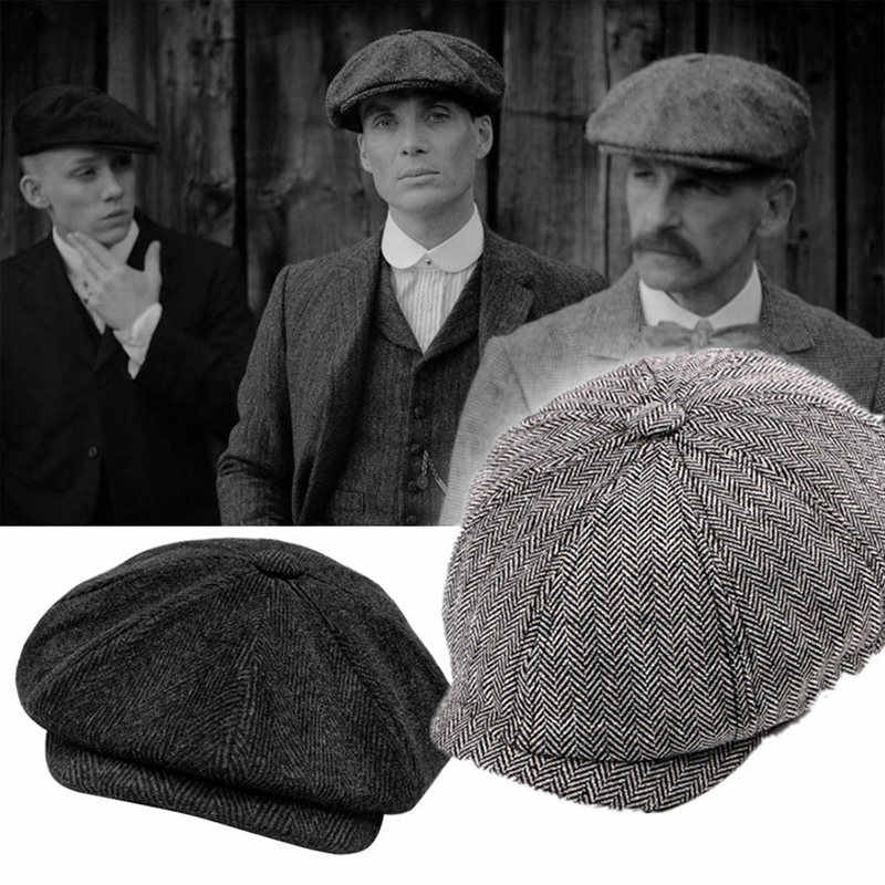 Mens Peaky Blinders Cosplay Tommy Shelby Plain 8 Panel Hat Cap Newsboy Cap Baker Boy Baseball Costume