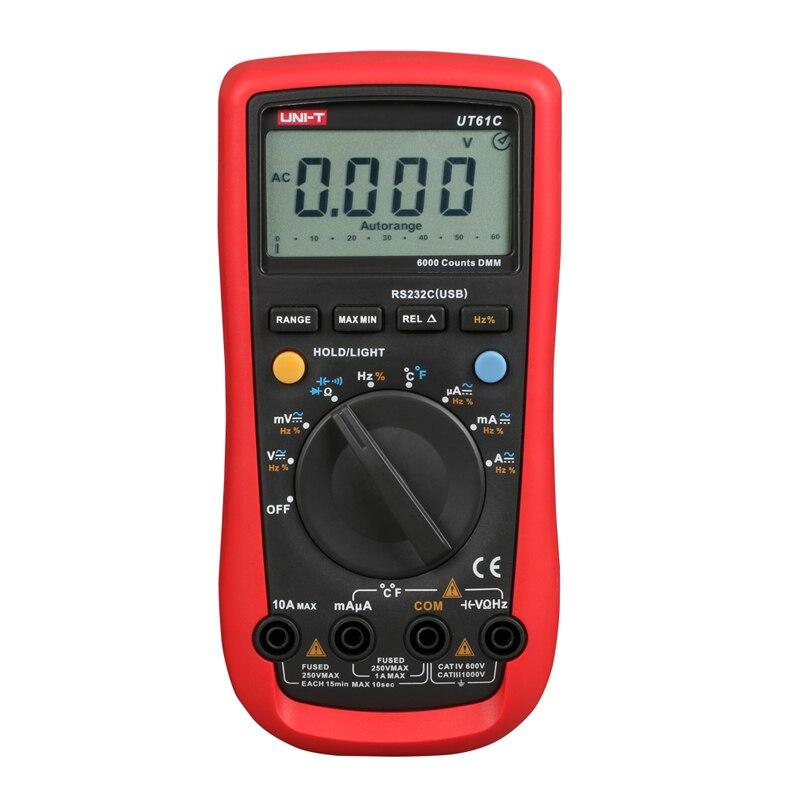 Digital Multimeter UNI-T UT61C High Reliability Modern Digital Multimeters AC/DC Meter CD Backlight & Data Hold Multitester uni t ut30c original authentic data handed hold digital multimeters temperature test