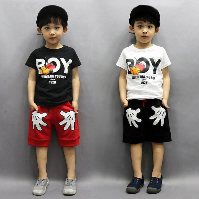 e672f5a34a456 US $6.42 28% OFF|Kids Boys clothing set Summer Mickey Hands Style T shirts  + shorts Boys Minnie Sport suits clothes sets-in Clothing Sets from Mother  ...