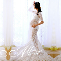 2017 Maternity Photography Props Gown Maternity White Lace Dress Prop Vestidos Pregnant Clothes Lace Crochet Maternity Dress