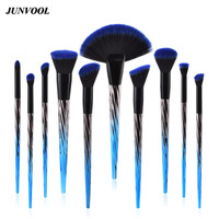10pcs Blue Diamond Flame Makeup Brush Synthetic Hair Smooth Foundation Powder Blush Oblique Fan Type Eye
