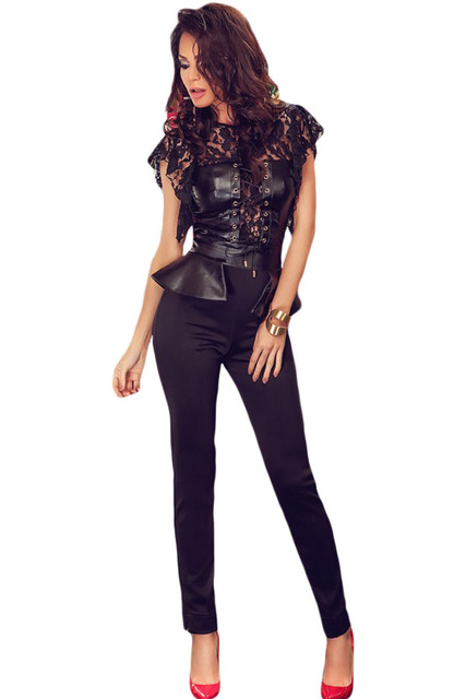 macacao feminino 2017 summer rompers long Black Flutter Lace Sleeves Peplum Waist Jumpsuit LC64070 overalls for women on sale