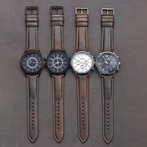 Image 5 - BEAFIRY Oil Tanned Leather 22mm 20mm 18mm Watchband Quick Release Watch Band Strap Brown for Men Women compatible with Fossil