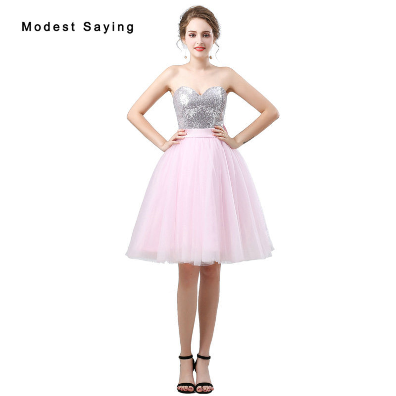Sexy Pink Ball Gown Sequined   Cocktail     Dresses   2018 with Big Bow Knee Length Homecoming Graduation Prom Gowns vestido de festa