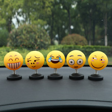 Car Ornaments Shaking Head Toys Funny Emoji Swinging Dashboard Cartoon Lovely Nodding Doll Gifts Automobile Decoration
