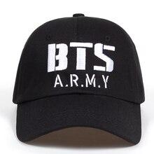 Kpop BTS logotipo del ejército bordado gorra de béisbol algodón Corea Hiphop  Bangtan Boys Unisex Snapback sombrero hombres mujer. 884459bf90d